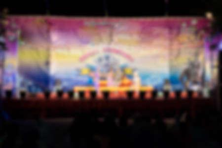 show folk: Blur of Thai actors and actresses with beauty glitter dress show Musical folk drama, called Li Ke,