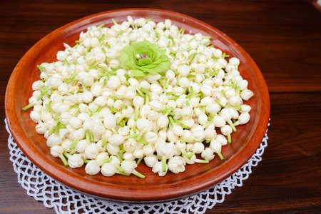 festoon: Group of white budded jasmine for making festoon