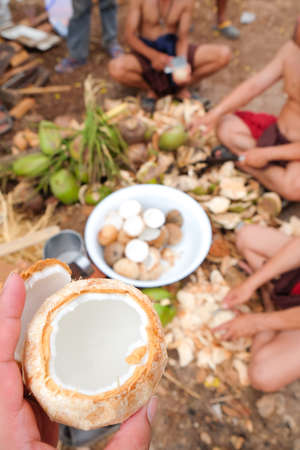 shelling: fresh of coconut with shelling coconuts background