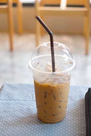 coffee table: Cold coffee on table Stock Photo