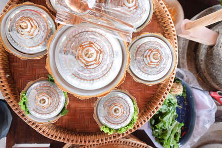 wares: set of delicate and intricately-designed traditional Thai (Benjarong wares) Stock Photo