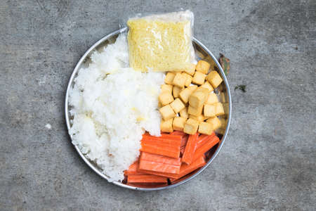 crab pot: Hot Pot Ingredients tremella, fish tofu and crab sticks for Sukiyaki Stock Photo