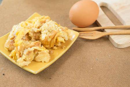 omlet: Fries egg in plate , Thai omelet style Stock Photo