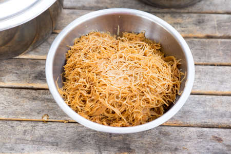 cooked instant noodle: Fried noodles with soy sauce ,Thai food on wood table