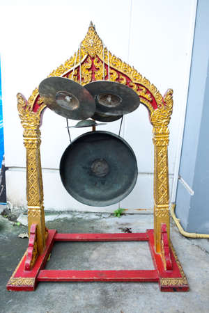 Thai gong musical instrument antique they use in special celebration ceremony