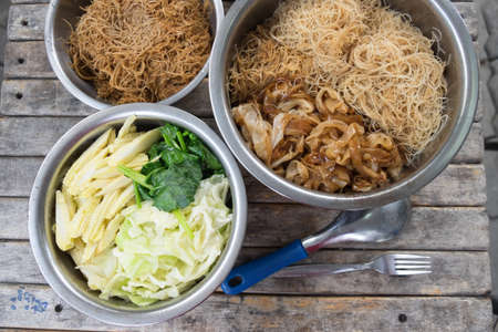 rad: Noodles Topped with Pork and vegetable, Thai Style food called Rad Na