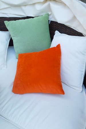 white sofa: Decorative pillow natural Fabric on white sofa Stock Photo