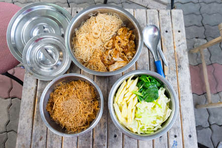 rad: various rice noodles, Thai Noodles Topped with vegetable :Chinese and Thai Style food called Rad Na
