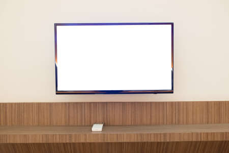 wall mounted: Wall mounted TV and cabinet underneath