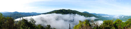 Panorama of Phu Sawan, Chong Yen, Mae Wong National Park, Thailand, the beautiful forest and mountain view point in Thailand