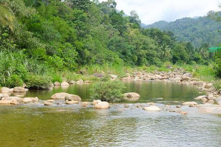 Flow water of Taha Waterfalls at Ban Khiri Wong village in Nakhon Si Thammarat, Thailand