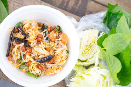 Spicy Salad of Curried Rice Croquettes, Thai food Stock Photo