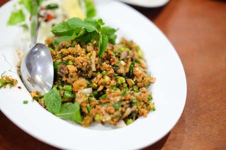 Spicy larb food Thailand on the dish Stock Photo