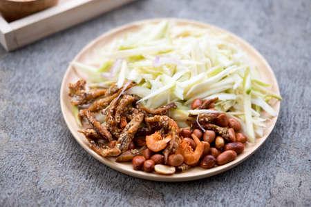 Food series : Ingredients of spicy and sour mangoes salad, Thai food