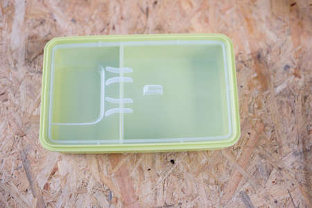 food storage: Close up green plastic box for food storage