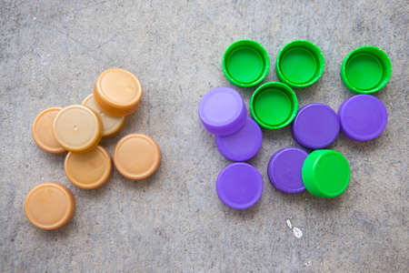 Plastic bottle screw caps use for inspiring recycled or up-cycled arts and crafts projects
