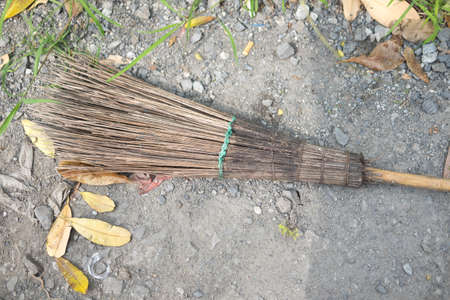 Old style broom made of coconut leaf stalks, Thailand