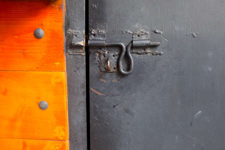 locked: vintage metal latch locking bolt locked door