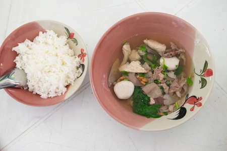 entrails: Boiled pork blood and entrails in soup eat with rice Stock Photo