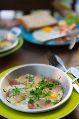 Thai or Vietnam food style of breakfast, called Egg Pan but Thai people called kai-ka-ta more famous in North-eastern Thailand Stock Photo