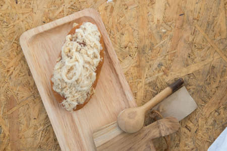 bake sale: Dried shredded pork bread with mayonnaise on wooden tray