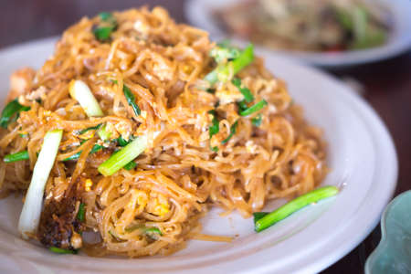 bean sprouts: Stir fried rice noodles Thai called Pad Mee Korat, Thai food