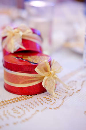 Wedding Gift For Guest Red Boxes For Friends Stock Photo Picture