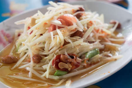This is thai hot and spicy dish Its name is Som-tum Thailand food Stock Photo