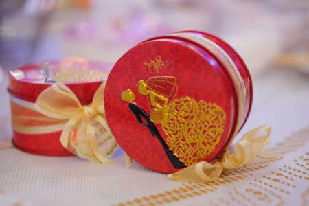 Keepsake or gift for guest in wedding party, red box