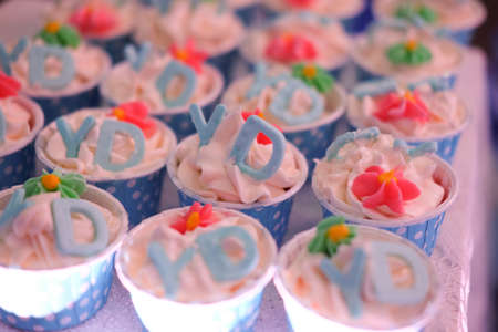 sugarpaste: Cupcakes decorated with pink flowers and alphabet
