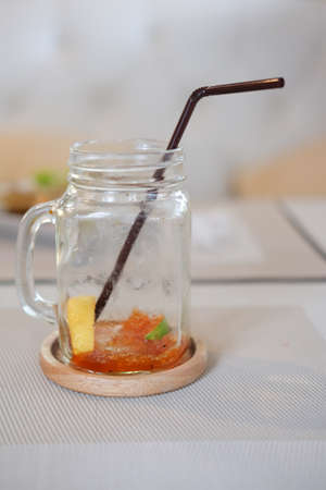 infused: After drink iced tea with lemon. Refreshment cold summer drink
