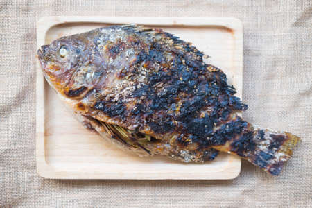 crusted: Salt crusted grilled nile tilapia fish Stock Photo