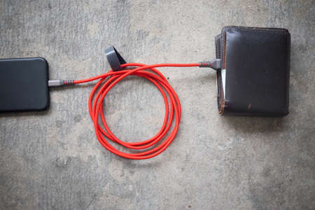 adapters: Conceptual image of expensive smartphone costs presented with power cable, credit cards and wallet.