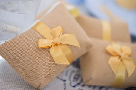 Decorated wedding favors gift for ceremony guest Stock Photo