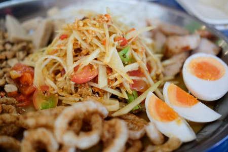 Papaya salad. Thai favorite food in the dish