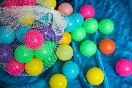 Plastic colored childrens balls for a playing