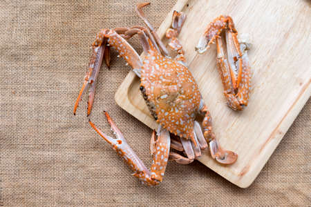 Cooked crab on wood tray, big crab Stock Photo