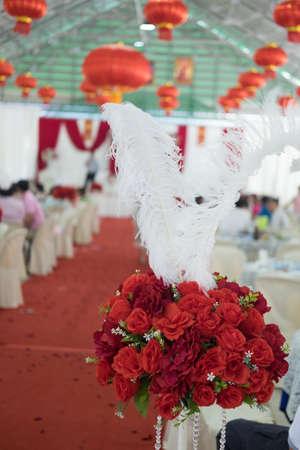 Roses bouquet decoration in wedding wedding ceremony Stock Photo