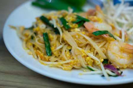 bean sprouts: Traditional Thai Fried Noodles or Thai name is Pat Thai