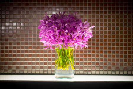 Close up mokara boonlong orchid flower bouquet in glass pot