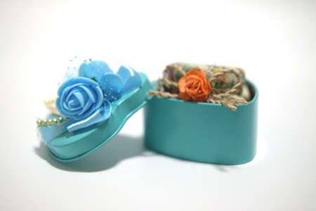 Souvenir gift blue stainless box for wedding ceremony Stock Photo