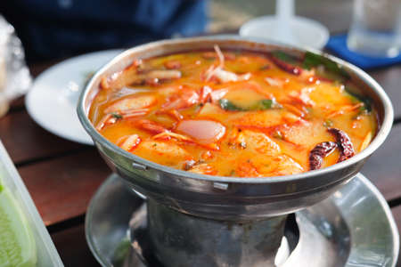 Spicy Thai Tom Yum Soup in hot pot