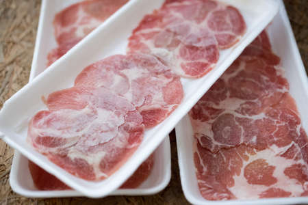 Close up of slice pork for shabu Stock Photo