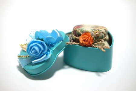 Souvenir gift blue stainless box on white background