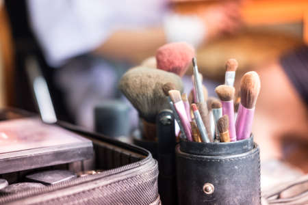 Makeup brushes in black cup ready to use Stock Photo