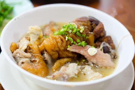 Braised pork leg stewed in the gravy Chinese food Yunnan style.