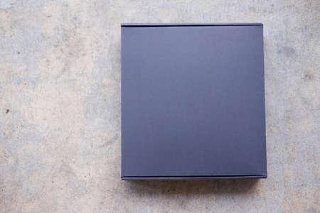Black paper box mock up model, top view