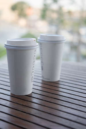 Two white paper cup for hot coffee or hot tea Stock Photo