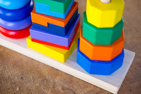 Colorful wooden toy stacking rings (Learning developmental kids toys)