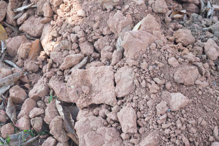 Pile of cracked soil on construction site in thailand